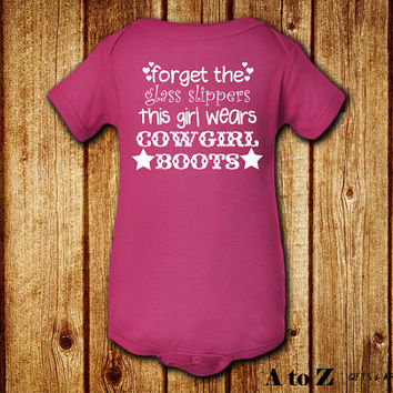 Forget the Glass Slippers This Girl Wears Cowgirl Boots, Baby Girl Clothes, Cute Baby Shower Gift, Gifts Under 20, MORE COLOR OPTIONS