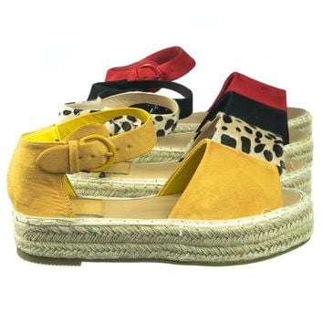 Moira10 Comfortable Espadrille Flatform Rope Jute Wrap w Close Toe Ankle Strap