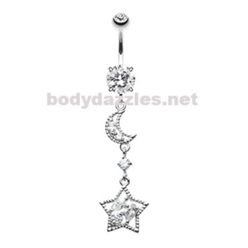 Dainty Crescent Moon and Star Belly Button Ring Navel Ring 14ga Surgical Steel