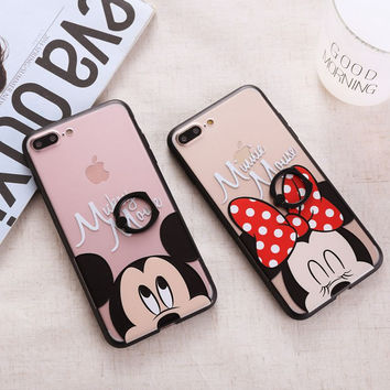 Cute Cartoon Phone Case For iPhone 7 7 Plus 6 6s Plus Mickey Minnie Mouse Ring Buckle Couples Phone Cover For iPhone 7 Cases