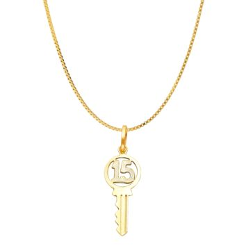 Quinceañera Sweet 15 Key Necklace -  14K Yellow Gold