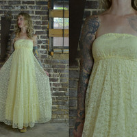 Vintage 70's Canary Yellow Floral Lace Tube Top Formal Prairie Dress