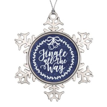 Jingle Bells Pewter Snowflake Ornament