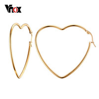 Vnox  Gold Plated Earrings for Women Wedding Female Big Heart Hoop Earrings Punk Stainless Steel