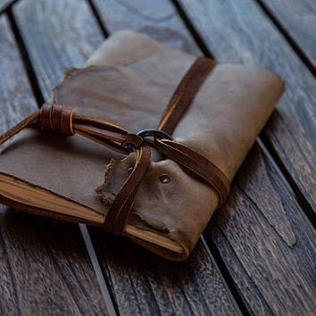 Leather Journal | Handmade Journal with Brass Ring | Hand Stitched in the U.S.A.