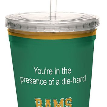 Tree-Free Greetings cc34415 Rams College Football Fan Artful Traveler Double-Walled Cool Cup with Reusable Straw, 16-Ounce