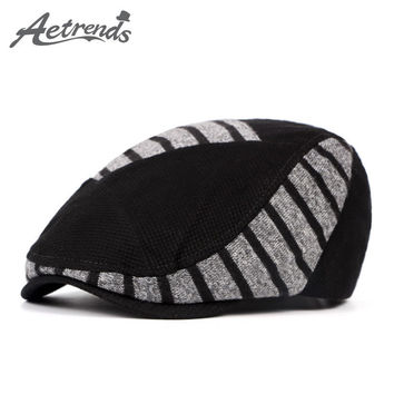 [AETRENDS] Unisex Woolen Knitted Beret Hat 2016 Winter Warm Visor Hats for Men or Women Z-3992