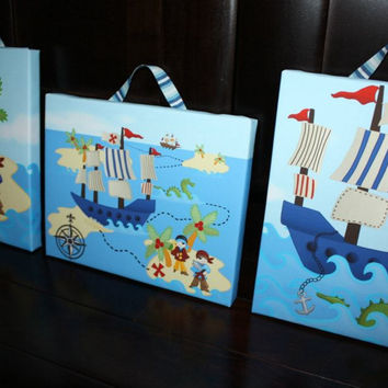 Set of 3 Pirates and Sea Monster Boys Bedroom Art on Stretched Canvas 3CS055