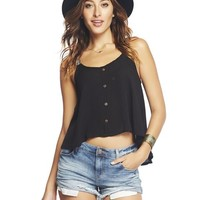 Embroidered Straps Button-Front Tank | Wet Seal