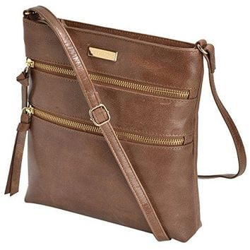Estalon Leather Crossbody Bag Cross Over Purse Messenger Bags for Women Cross Body Shoulder Handbag (Tan Waxy)