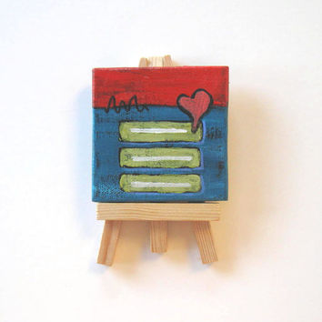 Red and Turquoise Abstract Miniature Painting, Original acrylic on a mini canvas
