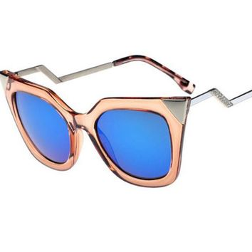Metal Mirror Cat Eye Sunglasses