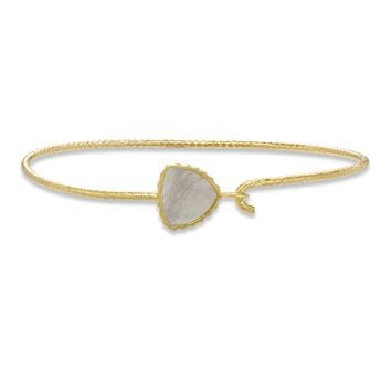 Sterling Silver Trillion Bangle Bracelet In Mother of Pearl