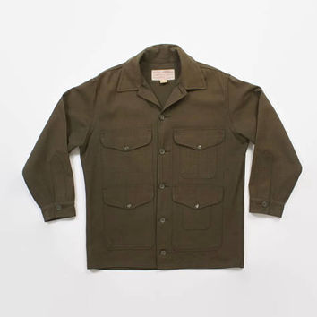 Vintage 60s FILSON JACKET / 1960s Men's Green Wool Twill Mid-Weight Cruiser L