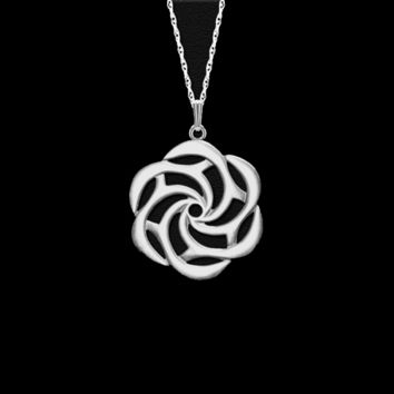 Fine Pewter Sea Rose Small Pendant by Lovell Designs