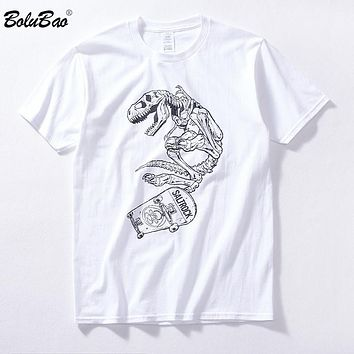 Men Quality Bones Dinosaurs Printed Short Sleeve Street wear Cotton Male Hip Hop T shirts