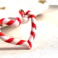 Christmas Peppermint Candy Cane Heart Necklace