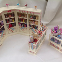 Sweets & Treats - Dolls House Miniatures - Candy Sweet Shop Complete Counter and Shelves Set