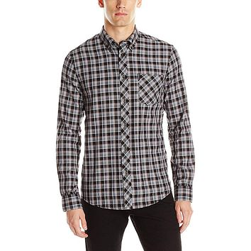 Ben Sherman - Herringbone Check Mens Button-Up Long Sleeve Shirt
