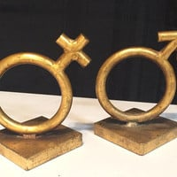 Original Vintage Bookends SIGNED C Jere modern art DATED 1968 sculpture male female symbol modernist artwork Mid Century Bookends bookend