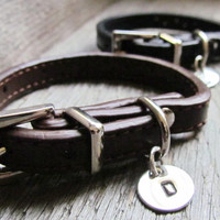 SET of 2 Custom Leather Bracelets Hand Stamped Jewelry His and Hers Couples Jewelry Sterling Silver Disc Charm Buckle Initials Design Stamps