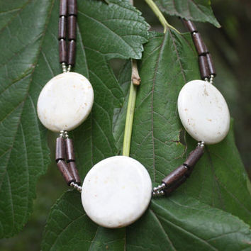 Magnesite And Wood - Statement Necklace - Magnesite Necklace - Wooden Necklace - Chunky - Tribal - Brown And White - Gift For Her