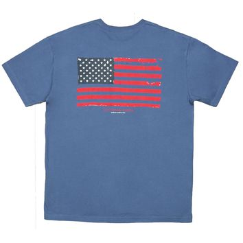 Vintage Flag Tee Shirt in Bluestone by Southern Marsh