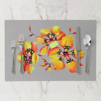 Bright Watercolor Orange Flowers Grey Placemat