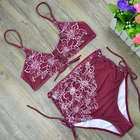 New High Waist Bikini Bandage High Waist Swimsuit Floral Print Swimwear Bandage Bathing Suit Lace Up Front Padded Biquini