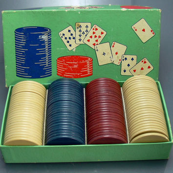 Vintage Anchor Clay Poker Chips Red White Blue Boxed 100