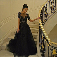 Short Sleeves Vestido de feast 2016 Beaded Black Tulle Prom Dresses with Sequins Evening Dress Black Lace Appliquea Prom Gowns