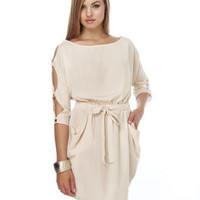 Cute Ivory Cutout Sleeve Dress - $41.00