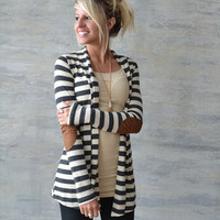 Stripe Patchwork Sleeve Blazer