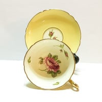 Shelley Teacup, English Rose, Gainsborough Shape, Fawn, Hand Painted, 1940s, 1950s