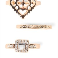 Set of 3 Rings with Stone and Etched Designs
