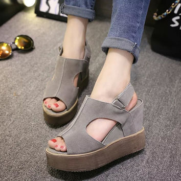 Stylish Design Summer Peep Toe Waterproof Thick Crust Wedge Matte High Heel Korean Sandals [9432945674]