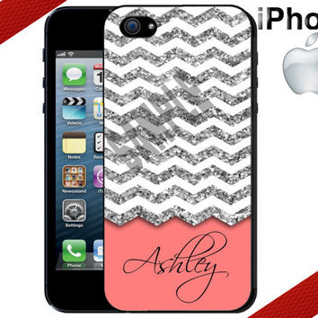 Personalized iPhone 4 Case - Monogrammed Coral and Silver Chevron  - iPhone 5 Case