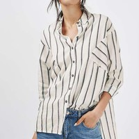 Oversized Shadow Stripe Linen Shirt