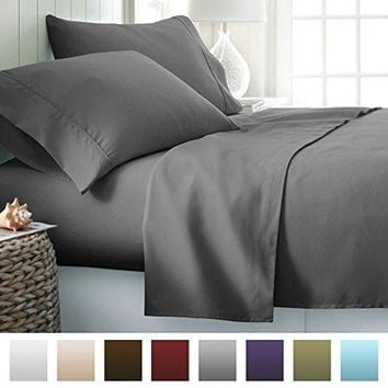 ienjoy Home Hotel Collection Luxury Soft Brushed Bed Sheet Set Hypoallergenic Deep Pocket California King Gray