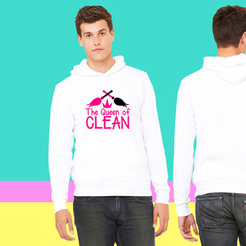 THE QUEEN of CLEAN! with feather dusters crown sweatshirt hoodiee