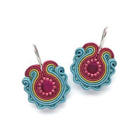Hot Pink and Turquoise Earrings Hot Pink Earrings Soutache Earrings Colorful Earrings Turquise Earrings Turquoise Dangle Earrings