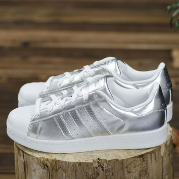 Adidas Superstar Metallic Silver White Womens Girls Shell Toe Trainers BA7665 Sneaker