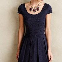Flared Jacquard Dress by Paper Crown Navy