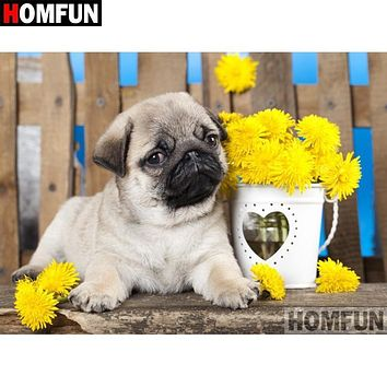 5D Diamond Painting Yellow Flowers Pug Kit