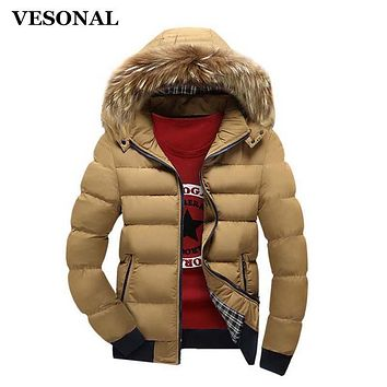 VESONAL Autumn Winter Jacket Men Parka Hooded Coat Male Casual Coats Quilted Wadded Padded Waistcoat Fashion Faux Fur Collar