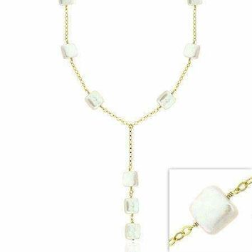 18K Gold over Sterling Silver Freshwater Cultured White Square Coin Pearl Y Necklace
