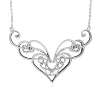 "Sterling Silver Celtic Double Heart Knot Necklace, 18"" + 2"" Extender: Jewelry: Amazon.com"
