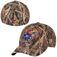 Kansas Jayhawks Top of the World Blades Memory Fit Flex Hat – Camo