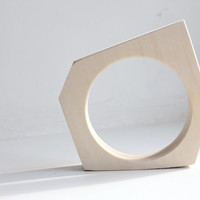 Irregular hexagon Wooden bangle unfinished  - natural eco friendly IHX