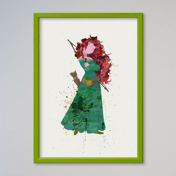 Merida Princess Watercolor print Disney Merida Watercolor Illustration poster Kids art Wall art Nursery Giclee Print Fine Art